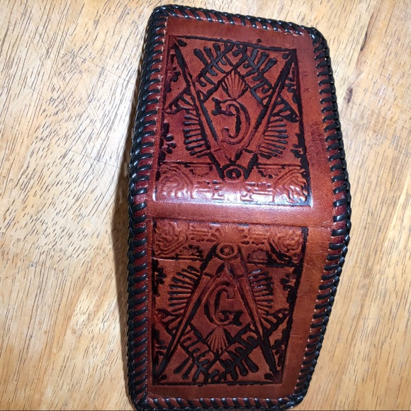 no brand Other - Vintage Masonic hand tooled wallet